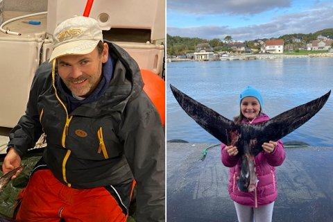 TROFÉ: Sporden på den forrige størja har Askevold levert til ein taksidermist. Her held dottera Mari Askevold (8) den opp for kameraet.