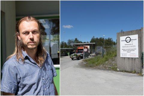 RØYKUTVIKLING: Sunnfjord Miljøverk fekk politi og brannvesen på besøk etter røykutvikling i ei bosspresse.