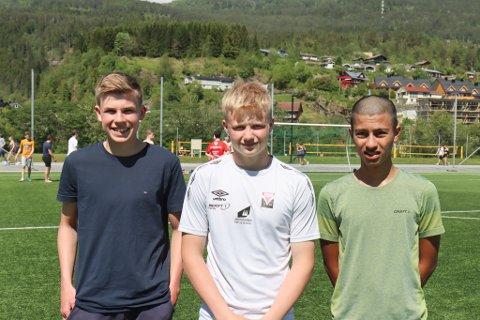ELEVAR: Mathias Lauritsen Lundekvam, Magne Elias Aarøen og Aron Hjelle håpar dei får kome tilbake på skulen nokså snart, sjølv om dei har fått nokre fridagar i nydeleg sommarvêr.