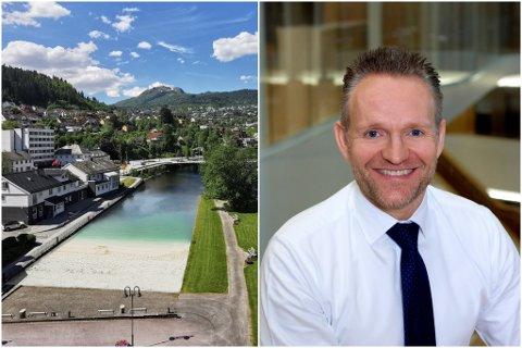 VIL BIDRA: Konsernsjef i Sparebank Vest, Jan Erik Kjerpeseth, likar utviklinga av Sunnfjord og vil bidra til bystrand om det blir aktuelt.