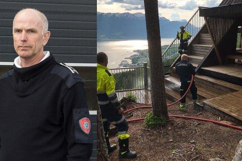 BRANNFARE: No er det stor skogbrannfare på i Trivlsesskogen. Difor Heldt brannsjef Kjell Aske og Gloppen Brann og Redning ei stor brannøving på Draumekvila.