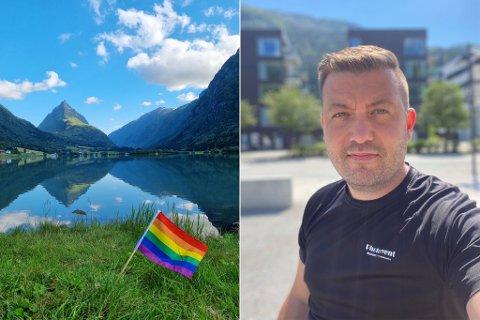REAGERTE: Thor-Aage Lillestøl var paff då han såg mange titals ufine kommentarar på bildet til venstre. Han reagerte med å gjere bildet til forsidebilde for Facebook-gruppa «Sogn og Fjordane i bilder».