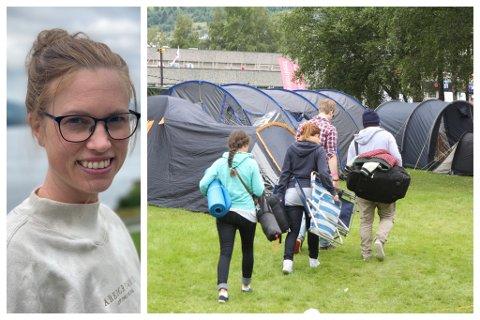 FOR VONDT: For mange blei det å vere på Malakoff for vanskeleg og dei reiste heim. For Veronika Leknes Kalland gjordet det derimot godt å vere samla med vennene på festivalen.