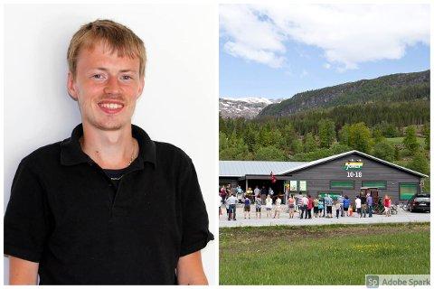 VELLYKKA ÅR: Martin Savland (31) har god grunn til å smile etter eit godt år for Naustdal Landhandel. Biletet av landhandelen er eit arkivbilete.