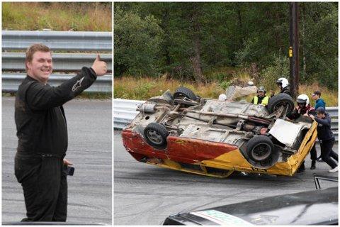 BLID: Sjølv om bilen hamna på taket er Morten framleis nøgd. Her viser han ein tommel opp rett etter krasjet. Til venstre er det godt samarbeid for å få bilen tilbake på hjula.
