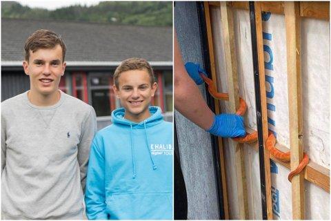 SLANGE PÅ SKULEN: Steffen Lauritsen Lundekvam og Niklas Thorsen fann ein slange på skulen.