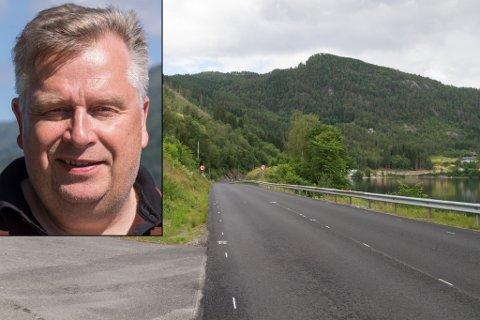 STOPPAR HER: Frå Førde kan mjuke trafikkantar nytte gang- og sykkelveg fram til Kusslid. Derifrå blir det rein bilveg.
