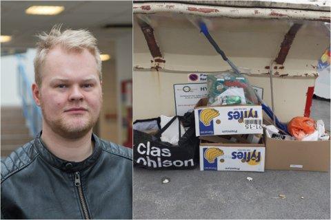 TAR TAK: Torgrim Thorsen venta ikkje på at andre skulle komme å rydde «hytterotet» ved containerane i Dale: – Det kostar lite å ta eit tak når ein ser at det flyt utover med søppel, seier han.