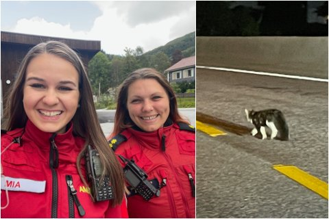 UNORMALT: Mia Eikelid (20) og Åse-Iren Løset (33) jobbar i Helse Førde sin ambulanseteneste i Dale. Dei fekk ei vakt utanom det vanlege då dei fann ein katt midt i tunnelen.