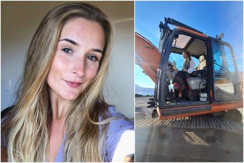 MASKINFØRAR: Silje Atterås (21) frå Hyllestad er den einaste kvinna på jobb. Ho håpar fleire kvinner vel å satse på anleggsbransjen i framtida.