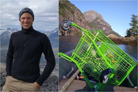 PÅ BÅTTUR: Midt ute i Dalsfjorden fann Hermod Nitter ei handlevogn frå Kiwi. – Eit mysterium, seier han.