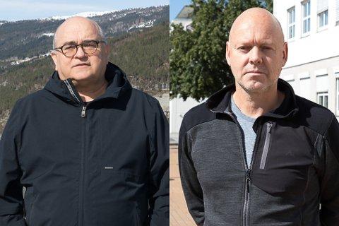 FEKK KRITIKK: Kommunedirektør Aners Skipenes (t.h) fekk krass kritikk av Arnar Kvernevik (Ap) t.v, men blei teken i forsvar av Svein Ottar Sandal i KrF under onsdagens formannskapsmøte.