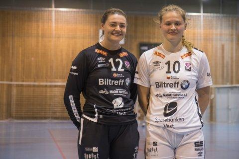 KAMP: Andrea Boge Solaas (24) og Emma Gloppestad (17) spelte mot Tertnes på heimebane i Førdehuset onsdag.