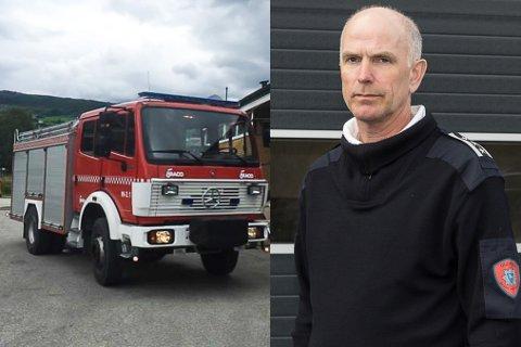 FOR DÅRLEG: Brannbilen på Byrkjelo vart kjøpt frå Sjåk brannvesen for fem år sidan. Dei selde bilen fordi dei opplevde den som for utrygg å ha i si teneste. Den lek luft, og er ei stor kjelde til uro for brannkonstablane. Dei fryktar at den ikkje skal starte, seier brann- og beredskapssjef Kjell Aske.