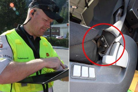 IKKJE GODT NOK: Kontrollørane til Statens vegvesen oppdaga raskt denne sjølvreparerte bilbelte-patenten.