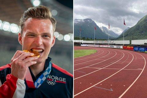 PÅ PLASS I GLOPPEN: Ikkje lenge etter OL-gullet i Tokyo, er Karsten Warholm no i Gloppen. Der la han også ei treningsøkt på Byrkjelo stadion.