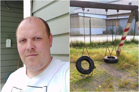UROA: Trebarnsfaren Thomas Karlsen i Stongfjorden er uroa for tryggleiken til ungane som nyttar leikeplassen ved den nedlagde skulen i bygda. No ber han kommunen ta grep.