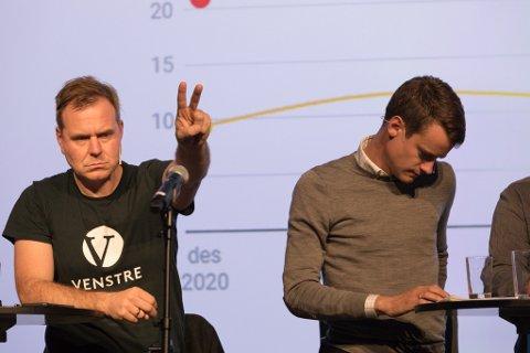 VALDEBATT: Firda sin direktesende paneldebatt på Sunnfjord Hotel. Alfred Bjørlo (V) var ivrig til å ta ordet.