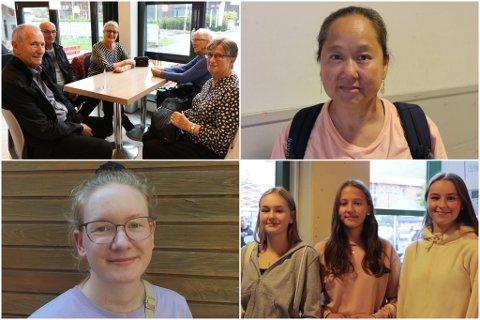 VAL 2021: Firda tok laurdag ein runde i Førde sentrum og snakke med folk om valet. Egil (81) og Åse Turid Høyvik, oppe til venstre, har førehandsstemt og håpar på eit regjeringsskifte. Erla Ros Thorinsdottir (14), Vilde Marie Grytten Hafstad (13) og Linnea Vines Kjæmpenes (14), nede til venstre, held på å lære om stortingsvalet på skulen. Dei gler seg til å stemme når dei blir 18.