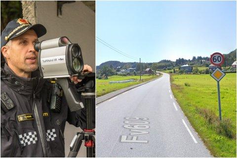 FOR FORT: Tysdag kveld tok utrykkingspatruljen i Sunnfjord fem bilistar i å køyre for fort i 60-sona ved Holmedal i Askvoll.