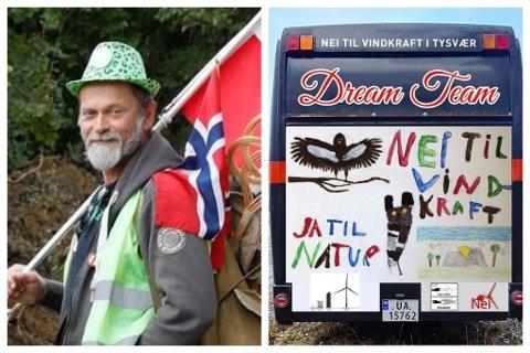 LANDET RUNDT: Trond Hovda køyrer rundt om i Norge med bussen sin. Ofte har han med seg folk som deler motstanden hans mot vindkraft, men no for tida reiser han åleine. Onsdag var han på Lutelandet.