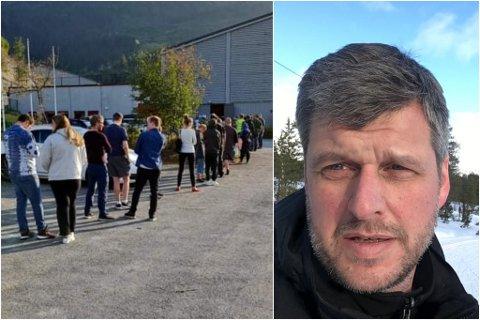 GODT OPPMØTE: Av dei 256 fjalerbuane som møtte opp, var 85 av dei 16- og 17-åringar.  kommuneoverlege Jakob Ravn i Fjaler kommune er godt nøgd.
