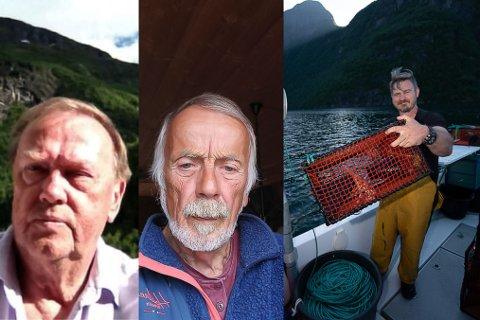 KREPSEKONFLIKT: Dei lokale hobbyfiskarane Harald Moen og Jarle Johannesen i Hyen er redde for at Nordfjord Kreps ved Kurt Rune Bakketun tømmer fjorden for kreps. Det avviser Bakketun. – Eg fiskar berekraftig.