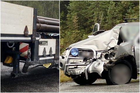 – UHELDIG: Ein personbil på veg ned bakkane kolliderte med ein lastebil. Politiet seier det er grunn til å tru at personbilen sklidde på oljesøl som låg i vegen og var uheldig.