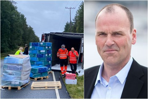 LAST: Tor Hjalte, driftsleiar i Norwell seier at 18,3 tonn av laksen deira var i traileren som velta tysdag ettermiddag.