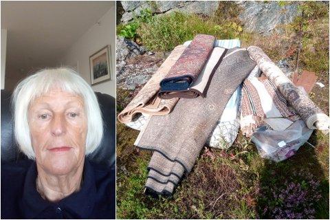 SISTE: Det siste Esther Flagtvedt Lein såg ved hyttekonteinaren var desse teppene. Ho er lei av at folk tek seg til rette og fyller opp hyttecontaineren med unødvendig avfall.
