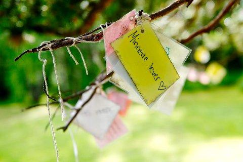 Laminerte hilsener henger på et tre på Utøya torsdag ettermiddag.