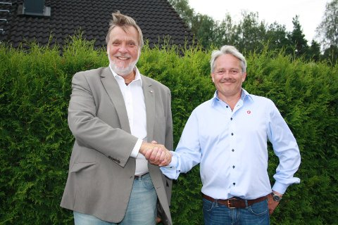 Fornøyde: Peter Kuran (H) og Bjørnar Laabak (Frp) er svært fornøyde med den nye målingen der Ap går kraftig tilbake. De er forberedt på å samarbeide i et borgerlig flertall. Foto: Hege Mølnvik