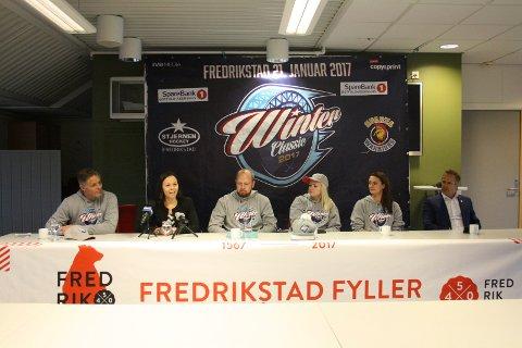 Ikke som ventet: Billettsalget går dårlig for åpningsseremonien for byjubileet «Fredrikstad på isen». Men prosjektleder Jon-Erik Bergh (nummer tre fra venstre) er ikke bekymret.