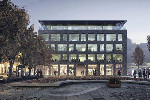 Nybygg: Slik vil det nye nærings- og kontorbygget i Storgata 5 bli seende ut. Kjederestauranten TGI Fridays vil etablere seg i første etasje med 270 plasser innendørs. Illustrasjon: Griff Arkitektur