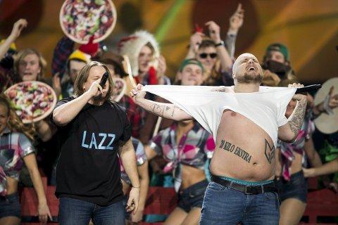 Ikke mer pizza: Staysman & Lazz får ifølge P4 ikke lenger spille MGP-låten sin, «En godt stekt pizza», under Vinterlyd-turneen til Kreftforeningen og P4. 8Foto: Berit Roald / NTB scanpix