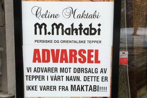 ADVARERT: Celine Maktabi raser over at familiens navn blir misbrukt av falske teppeselgere. I butikkvinduene i Oslo blir kunder advart på sterkeste.