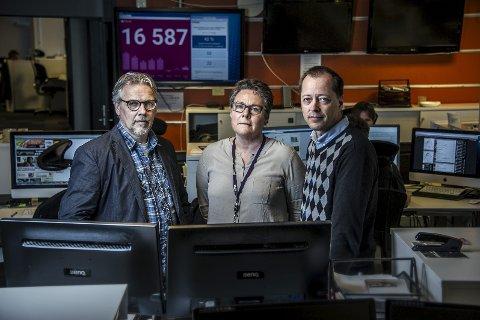 Mediemakta: Fra venstre redaktør Tomm Pentz Pedersen i Demokraten, sjef for NRK Østfold Grete Ruud og sjefredaktør René Svendsen i Fredriksstad Blad. Foto: Geir A. Carlsson