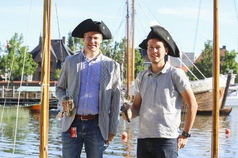 Partioppgjør: De tar en duell på lørdag; ordfører Jon-Ivar Nygård (til venstre) og partileder Fredrik Bjørnebekk-Waagen fra Sarpsborg.Foto: Thomas H. Arntsen