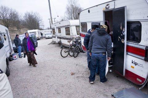 Kan få jobb: Romfolket i leiren på Kiæråsen kan få jobbtilbud i samarbeid med Kirkens Bymisjon og Blå Kors.arkivfoto: Trond Thorvaldsen