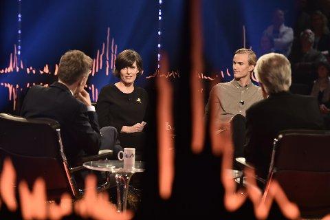 Gullrekka: Monica Isakstuen er gjest på Skavlen sammen med Sven Bertil Taube og skihopper Daniel André Tande.