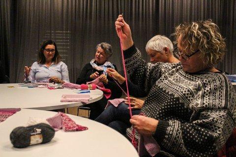 STRIKKER MED KJÆRLIGHET: Onsdag var 12 damer som engasjerer seg i prosjektet Ull&Omtanke samlet på Litteraturhuset i Fredrikstad. Nå håper de at flere vil melde seg som montører, og at flere nominerer personer de kjenner som er rammet av kreft til å motta et teppe laget med kjærlighet.