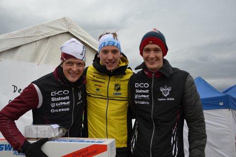 Anders Nordberg (t.v.), Emil Svensk og Ralp Street tok de tre pallplassene i herreklassen.