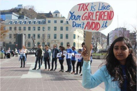 Fra aksjon om skatteparadisfri sone i Ålesund i mai i år.