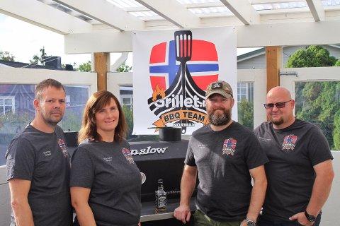 Fra venstre René Rostad, Ragnhild Rostad, Eirik Kittelsen og Morten Hansen sier det var en opplevelse å være med i det uoffisielle BBQ-VM i USA.
