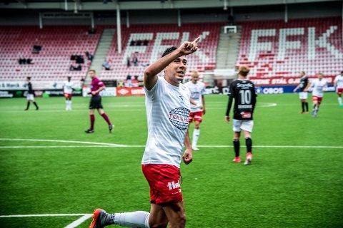 VIL BLI HUSKET: Sanel Kapidzic feiret her et mål mot Elverum. Dansken er nå ferdig i FFK. Foto: Geir A. Carlsson.