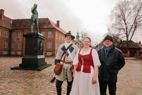 Jubileumsmarsj: Ole Fredrik Graarud, Katharina Hoffman og styreleder Tor Ulsnæs i tambourafdelingen er klare for å sette fyr på Sarpsborg før de går sørover 9. september.