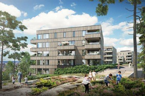 - Bevare mest mulig: Blokkene skal bygges mellom Haldenveien, lysløypa og marka på Østsiden. Arkitektfirmaet understreker at mest mulig av naturområdet rundt skal bevares.