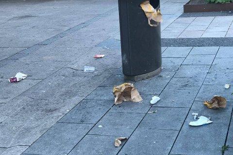 MÅKEFEST: Måkene forsynte seg godt fra søppelet på Stortorvet.