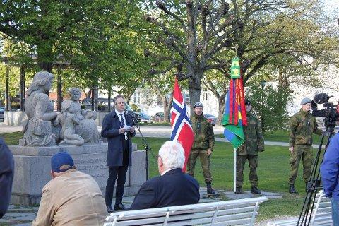 – De er ikke velkomne: Ordfører Jon-Ivar Nygård benyttet anledningen 8. mai til å markere avstand til Nordisk motstandsbevegelse.