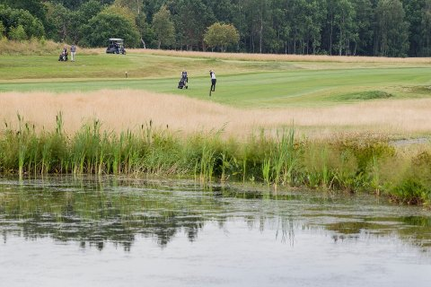 JAKTER REKORD: Her er de første spillerne i gang på åpningrunden under Swedish Golf Tour på Østsiden. Foto: Christine Heim